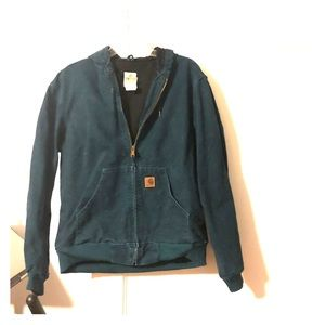 Teal Carhartt coat in a men's medium